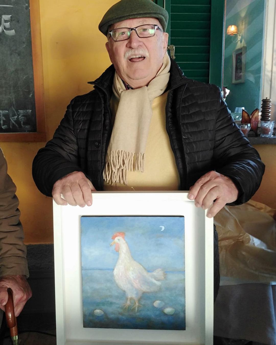 Piergiorgio Pistelli e il suo olio su tela Il pranzo della Gallina a Santa Lucia di Camaiore osteria Il Vignaccio